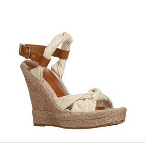 All Saints Sola Wedge Espadrille Sandals Leather